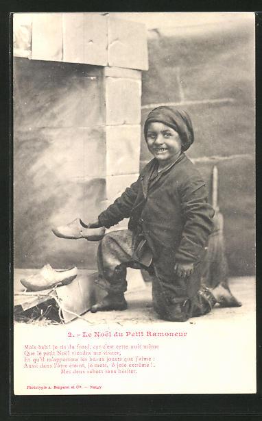 AK 2. Le Noel du Petit Ramoneur, kleiner Schornsteinfeger mit Holzschuhen