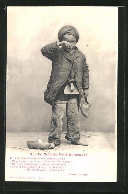 AK 6. Le Noel du Petit Ramoneur, kleiner Schornsteinfeger mit traurigem Blick