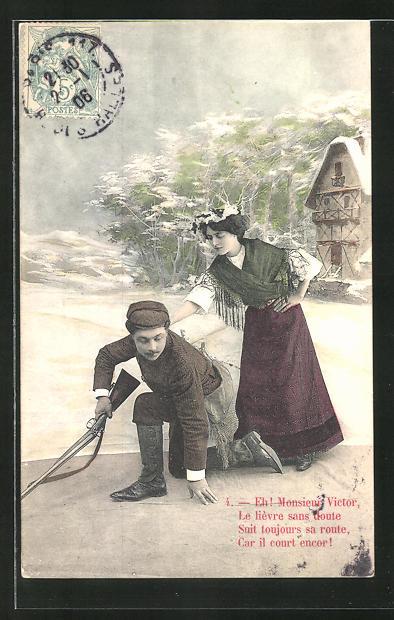 AK Eh! Monsieur Victor..., Jäger und Fräulein, Studiokulisse