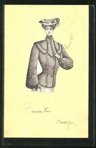 Künstler-AK ausgeschnittene auf aufgeklebte Dame mit Hut, Ganzsache