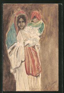 Künstler-AK Handgemalt: Mutter mit Kind im Gewand mit Kopftuch