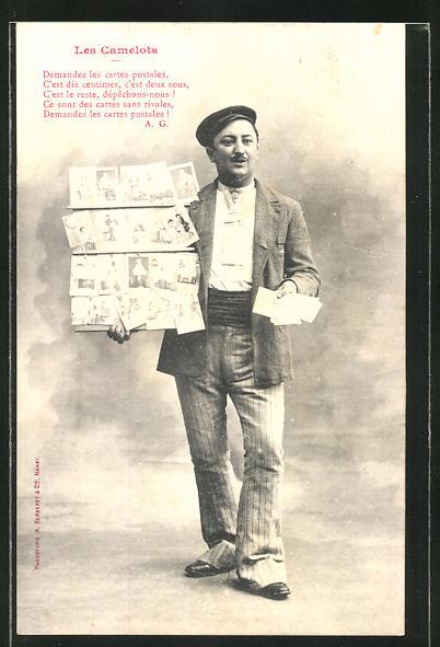 AK Les Camelots, Ansichtskartenverkäufer