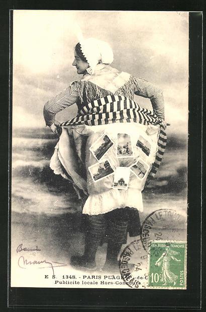 AK Paris Plage, Frau kleben Ansichtskarten auf dem Hintern 0