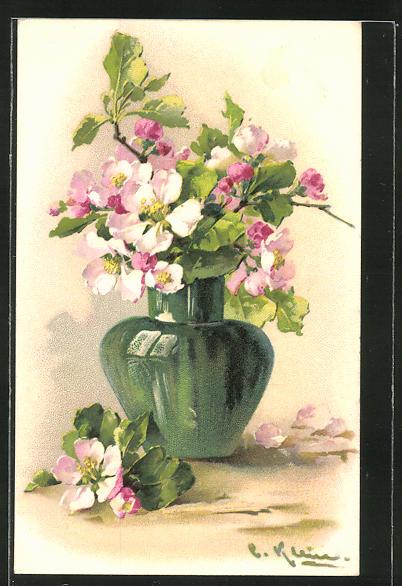 Künstler-AK Catharina Klein: hübsche Blumen in einer grünen Vase