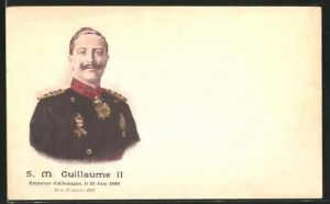 Lithographie Portrait S.M. Guillaume II., Empereur d'Allemagne, Kaiser Wilhelm II.