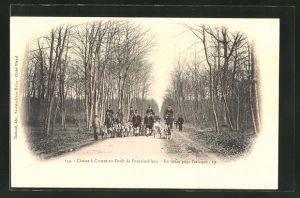 AK Chasse a Courre en Foret de Fontainebleau, en Route pour l'Attaque, Jagd