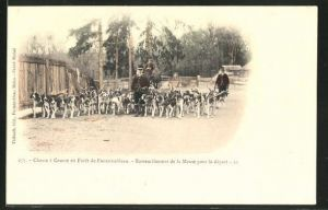 AK Chasse a Courre en Foret de Fontainebleau, Rassemblement de la Meute pour le depart, Jäger mit Meute