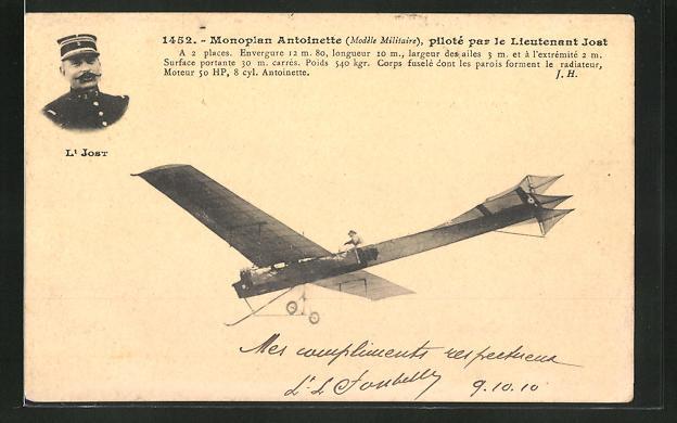 AK Monoplan Antoinette, pilote par le Lieutenant Jost, Flugzeug