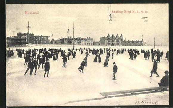 AK Montreal, Skating Ring M. A. A. A., Menschen beim Schlittschuhlaufen