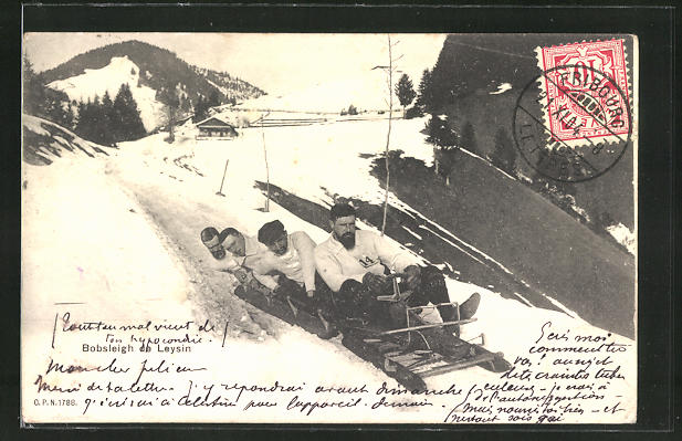 AK Leysin, Männer bei rasanter Schlittenfahrt