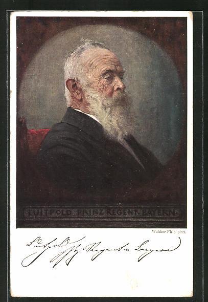 AK Prinzregent Luitpold von Bayern, Seitenportrait mit Bart