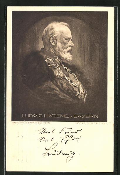 AK König Ludwig III. von Bayern, Seitenportrait mit Uniform