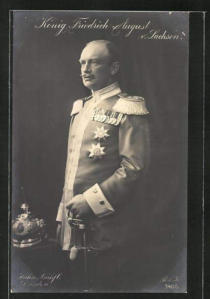 AK König Freidrich August von Sachsen in Uniform mit Säbel