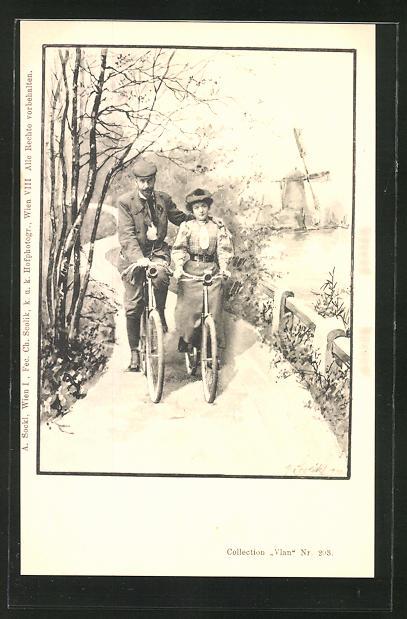 Künstler-AK Charles Scolik: Mann und Frau fahren Fahrrad am See