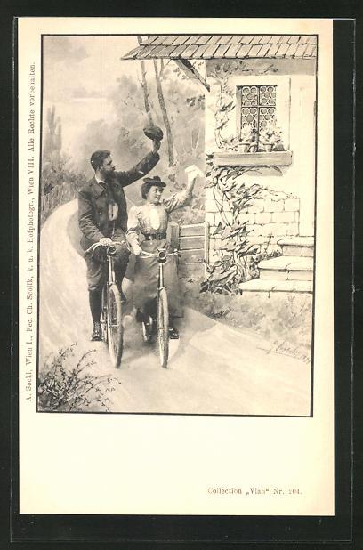 Künstler-AK Charles Scolik: Frau und Mann fahren mit dem Fahrrad an einem Haus grüssend vorbei
