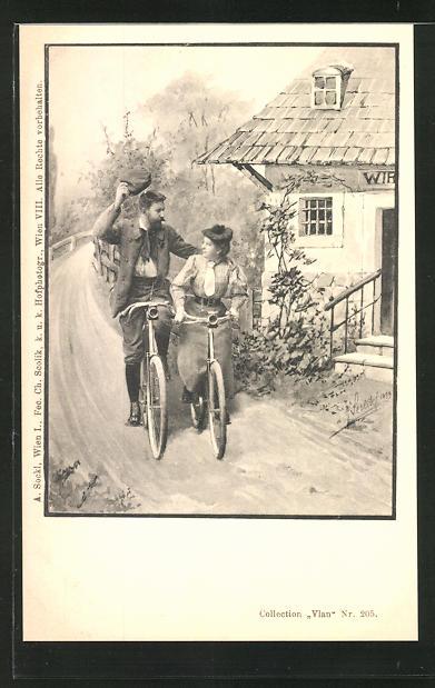 Künstler-AK Charles Scolik: Frau und Mann fahren gemeinsam Fahrrad