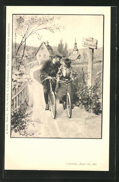 Künstler-AK Charles Scolik: Frau und Mann schauen sich auf dem Fahrrad sitzend in die Augen