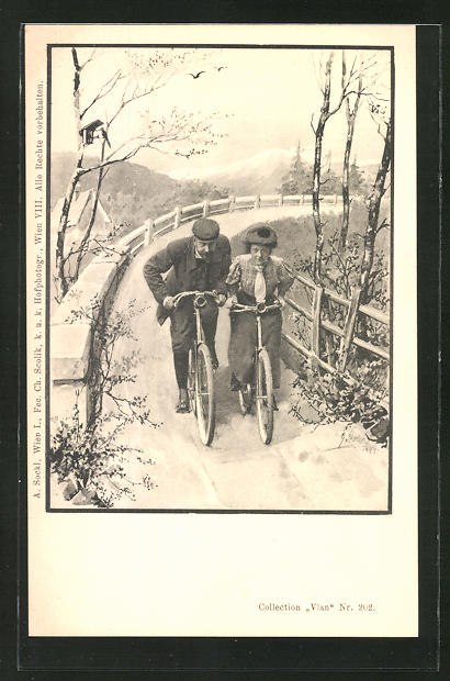 Künstler-AK Charles Scolik: Frau und Mann fahren mit dem Fahrrad eine Kurve entlang