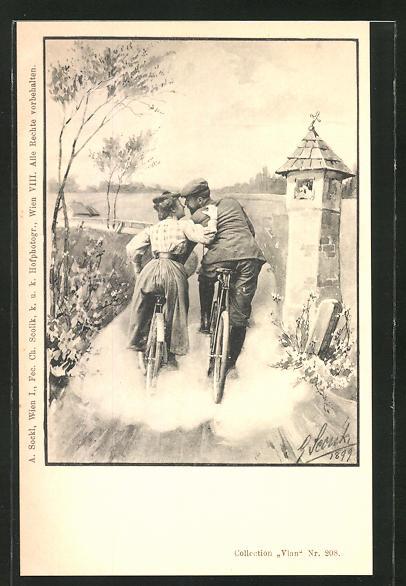 Künstler-AK Charles Scolik: Frau und Mann kurz vor einem Kuss Fahrrad fahrend