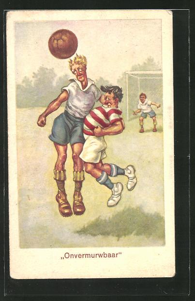 AK Kopfballduell zwischen zwei Männern beim Fussball
