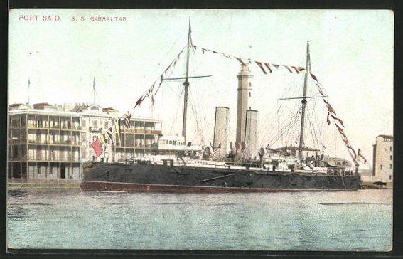 AK Passagierschiff S. S. Gibraltar, Ansicht von der Seite
