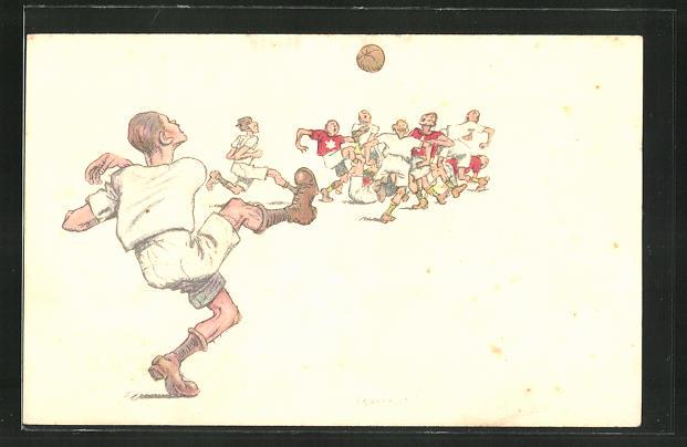 AK Fussballer spielt einen weiten Pass in eine Gruppe von Spielern