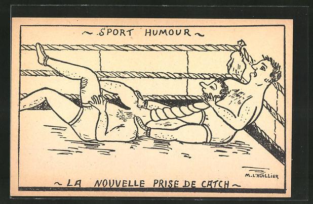 AK -Sport Humor-, Zwei Männer ringen im Ring
