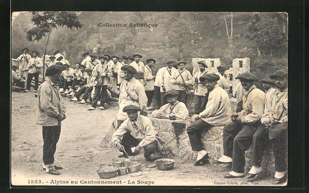 AK Alpins au Cantonnement, La Soupe, französ. Alpenjäger