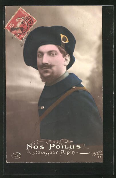 AK Nos Poilus! Chasseur Alpin, französ. Alpenjäger