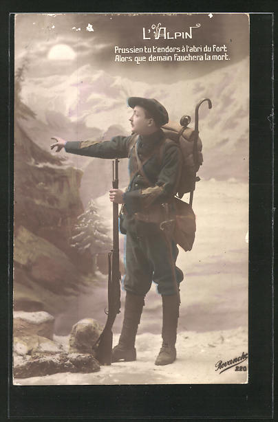 AK L'Alpin, französ. Alpenjäger, Studiokulisse