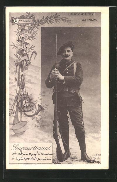 AK Chasseur Alpins, französ. Alpenjäger, Portrait mit aufgepflanztem Seitengewehr