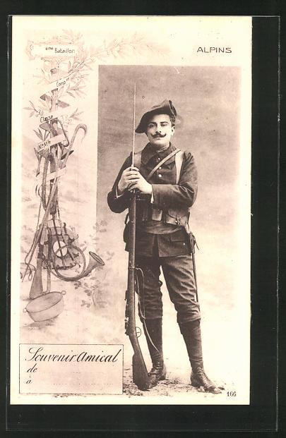 AK Chasseur Alpins, französ. Alpenjäger mit aufgepflanztem Seitengewehr