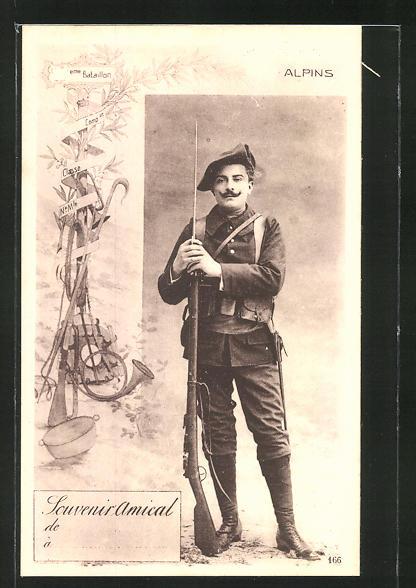 AK Chasseur Alpins, Portrait eines französ. Alpenjägers