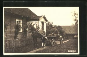 Foto-AK Laiuse, Männer im Pferdefuhrwerk vor einem Haus