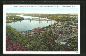 AK Parkersburg, WV, Bird's eye view of Ohio River and Bridges