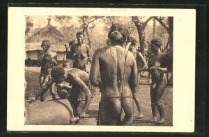 AK Oubangui Chari, Femmes au tam-tam, nackte afrikanische Frauen