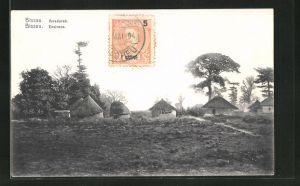 AK Bissau, Arredores, Dorfpartie mit Hütten