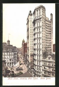 AK New York, NY, Park Row showing Post Office, Strassenbahnen