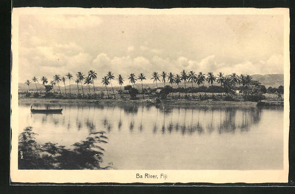 AK Fiji, Ba River, Flusspartie mit Palmen