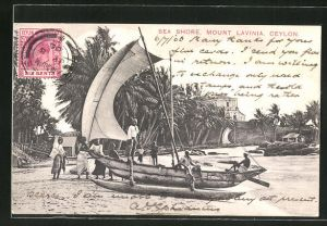 AK Ceylon, Sea Shore, Mount Lavinia, Segelboot
