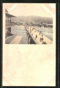 AK Yokohama, Ortspartie mit Blick auf die Brücke und Passanten