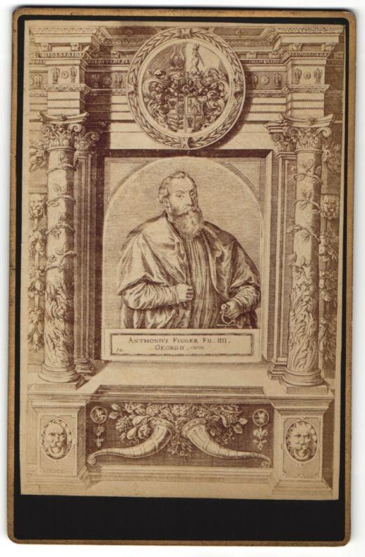 Fotografie Portrait Anton Fugger, Wappen, rückseitig Stempel Gebr. Martin Photographen Augsburg