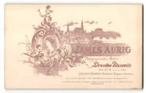Fotografie James Aurig, Dresden-Blasewitz, Ansicht Dresden, Blick zur Altstadt, rückseitig Portrait-Foto
