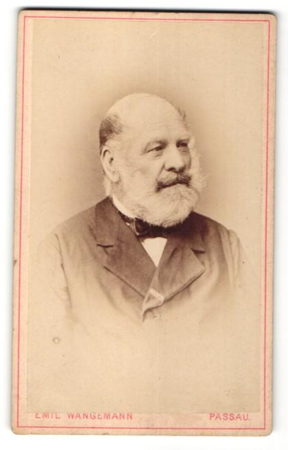 Fotografie Emil Wangemann, Passau, Portrait betagter Herr mit Bart