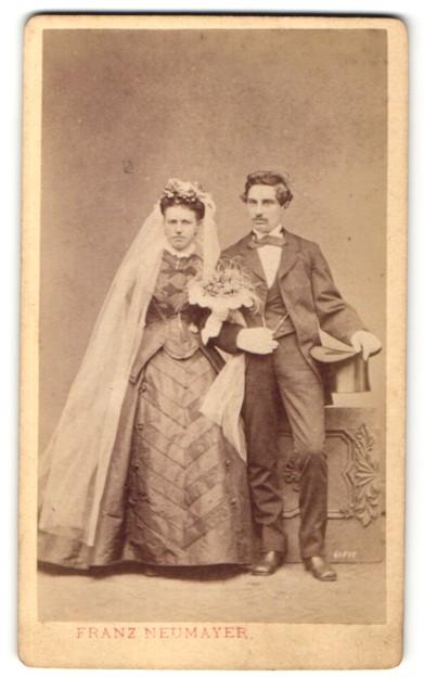 Fotografie F. Neumayer, München, Portrait Braut und Bräutigam