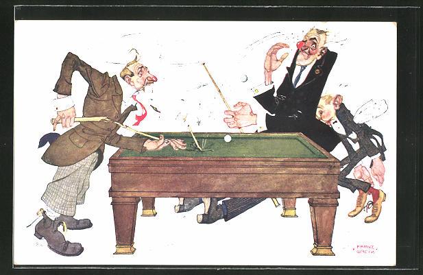 Künstler-AK Karikatur zweier Billard-Spieler