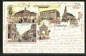 Lithographie Frankenthal, Karolinen Institut, Bahnhofstrasse, Bahnhof