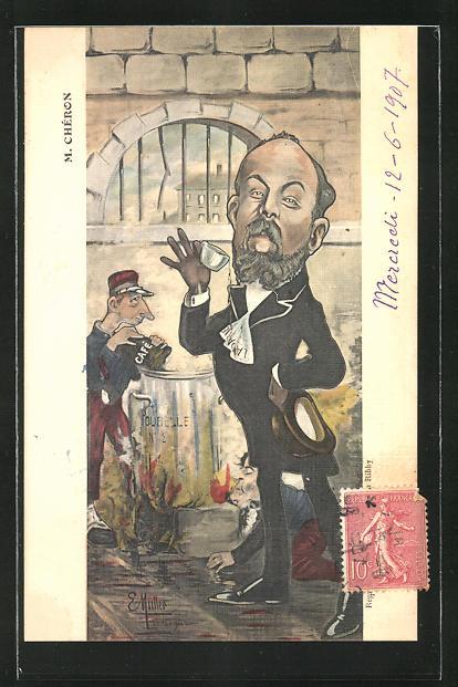 Künstler-AK Karikatur von M. Chéron, Frankreich