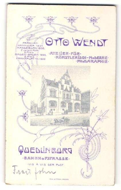 Fotografie Otto Wendt, Quedlinburg, Ansicht Quedlinburg, Foto-Atelier in der Bahnhofstrasse gegenüber der Post