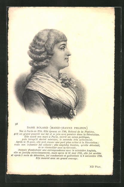 AK Brustportrait Dame Roland, Marie-Jeanne Phlipon, 1754-1793, französische Revolution